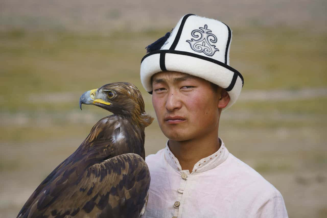 Issyk-kul lake eagle hunters