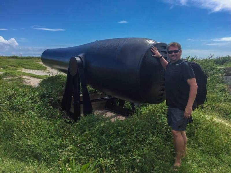 Dry Tortugas near Key West - Dave next to a canon