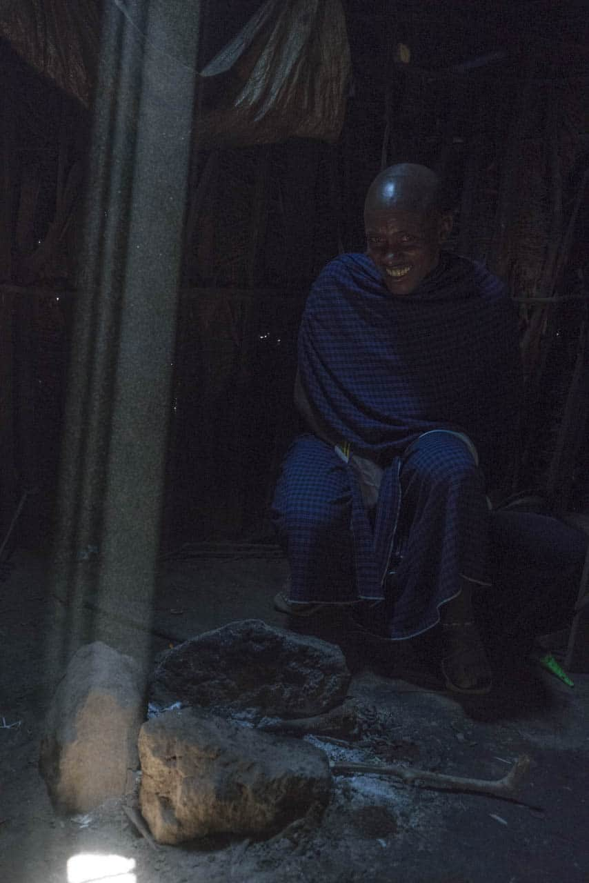 inside mud hut of Maasai family