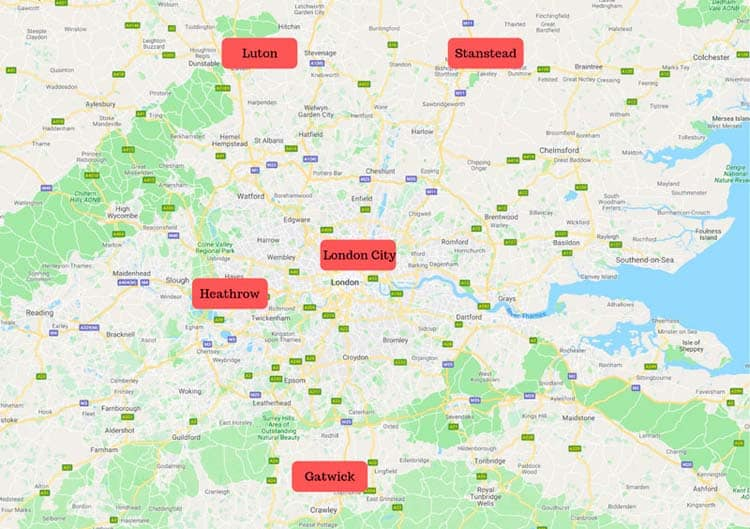 map of london airports