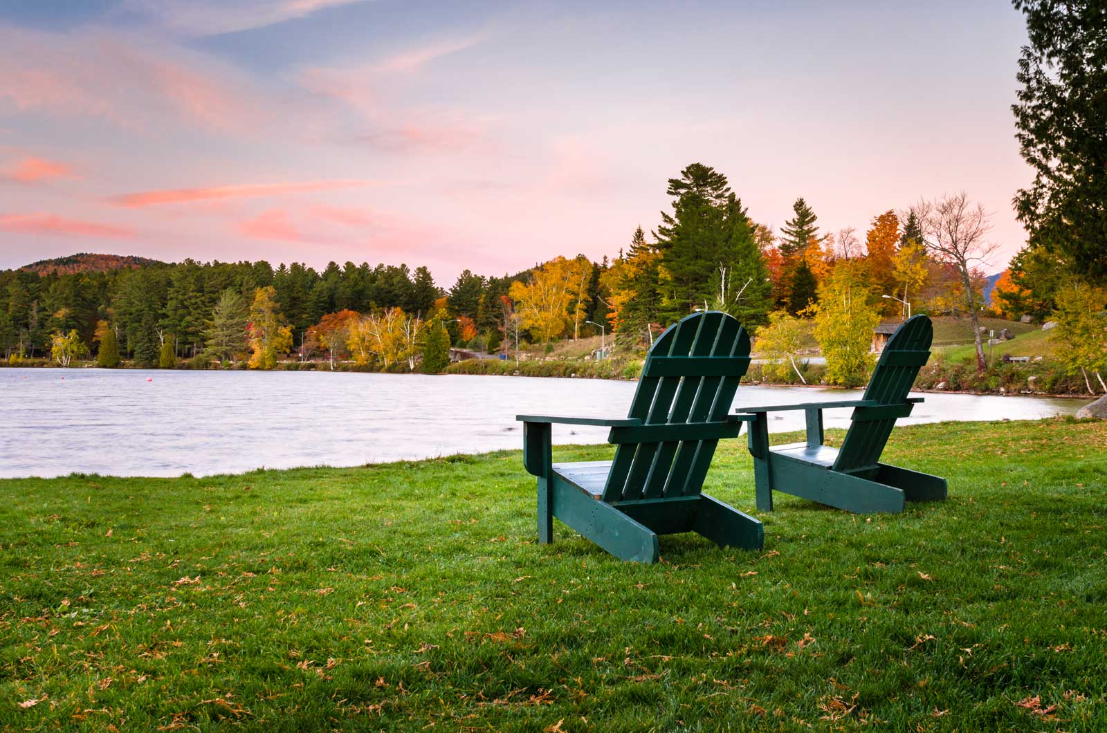 adirondack chairs on mirror lake