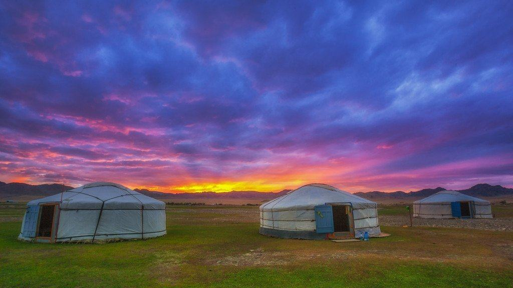 mongolia photos yurts at sunset