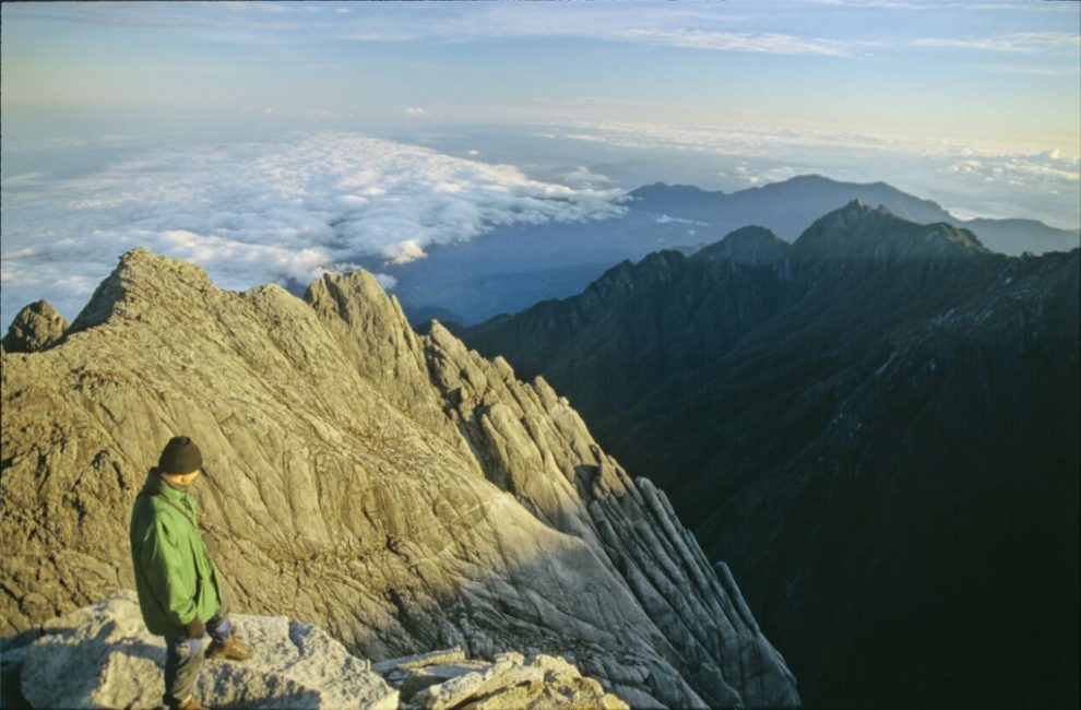 looking out from summit of Mount Kinabalu, Borneo
