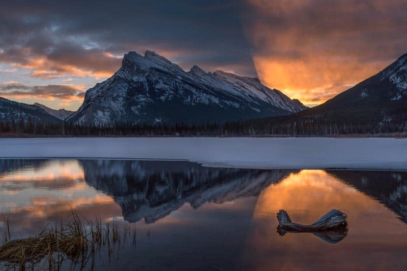 get shots like this of the Vermillion Lakes on a photo tour in alberta