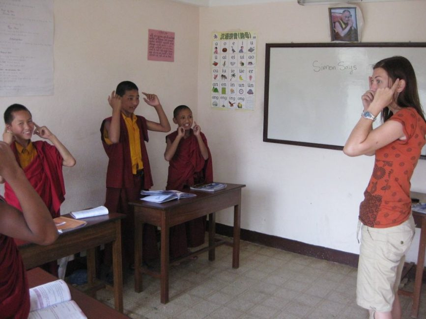 teaching monks in nepal volunteering