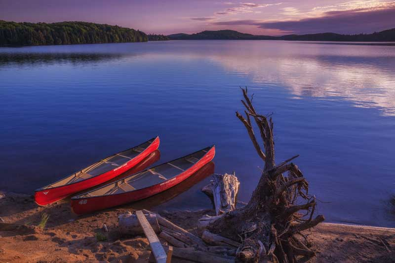 The Canoes are ready for a sunset paddle in Algonquin Park