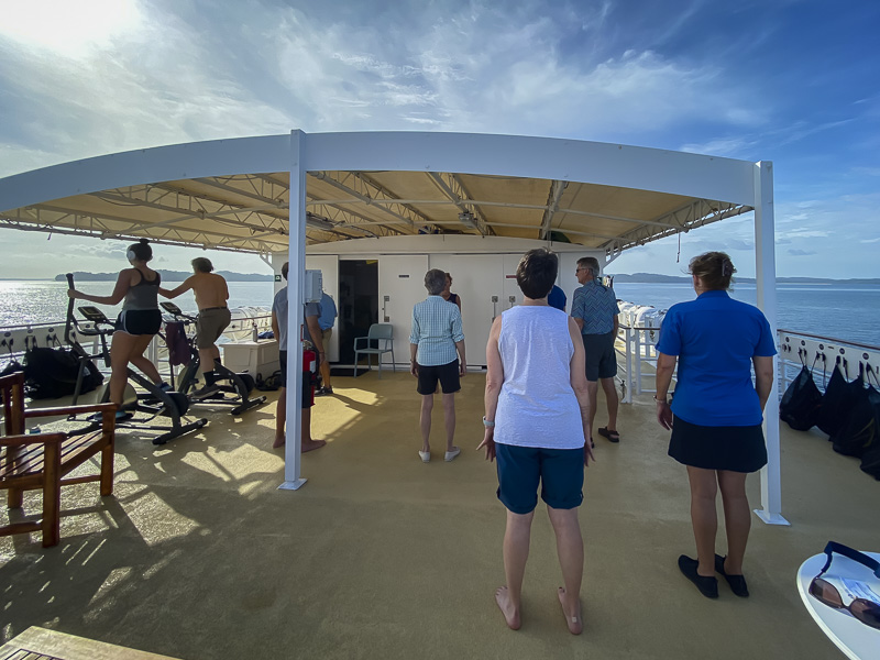 Morning Stretch Class on Uncruise Panama to Costa Rica
