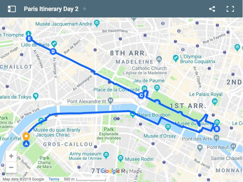Paris Itinerary Map Day 2