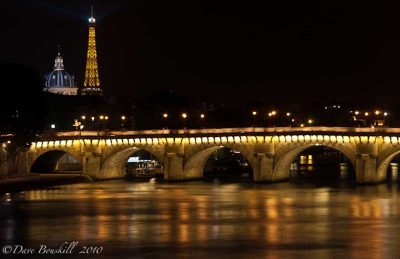The Eiffel Tower and Les Invalides at night