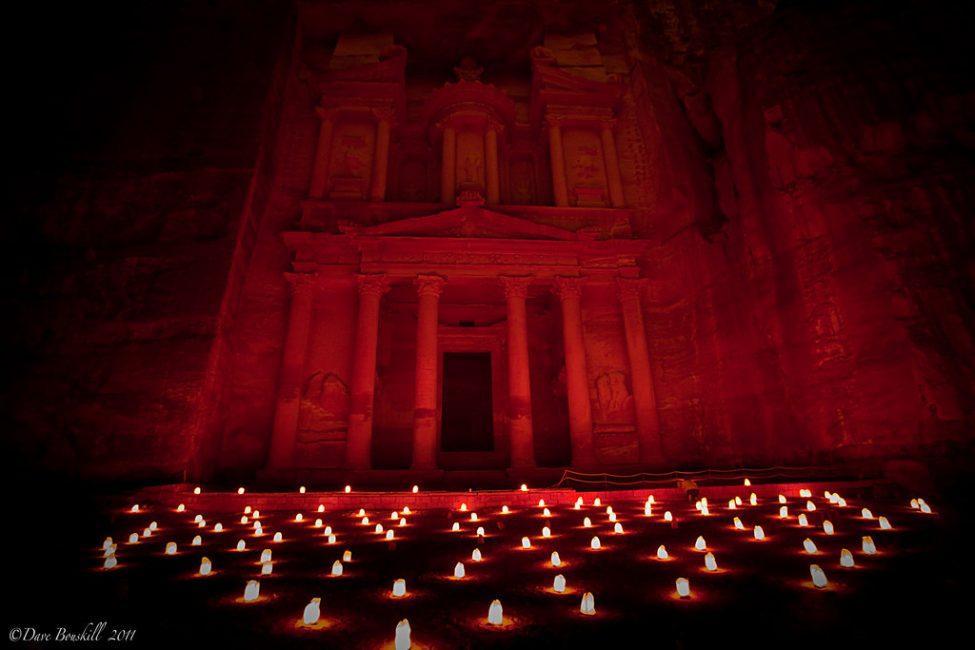 Petra Treasury in Jordan at night