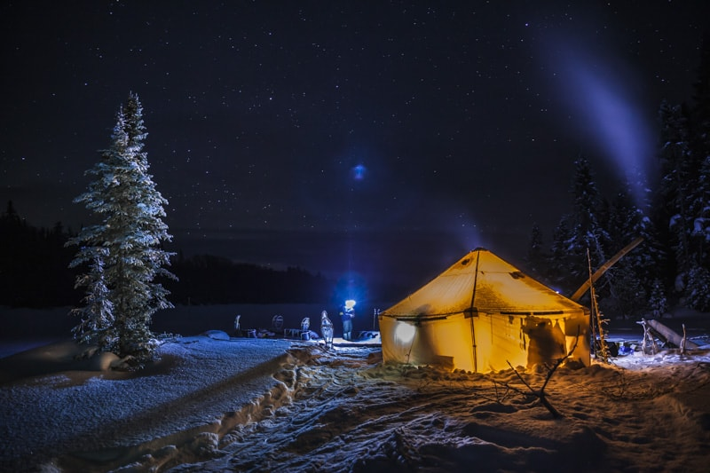 prospectors tent at night in ontario Canada