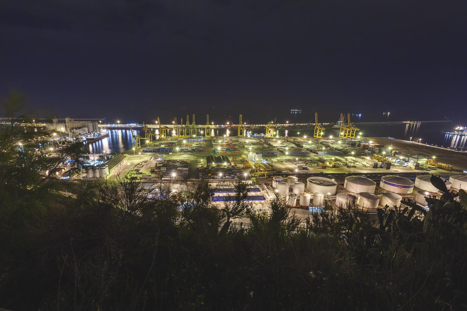 Barcelona Harbor at night