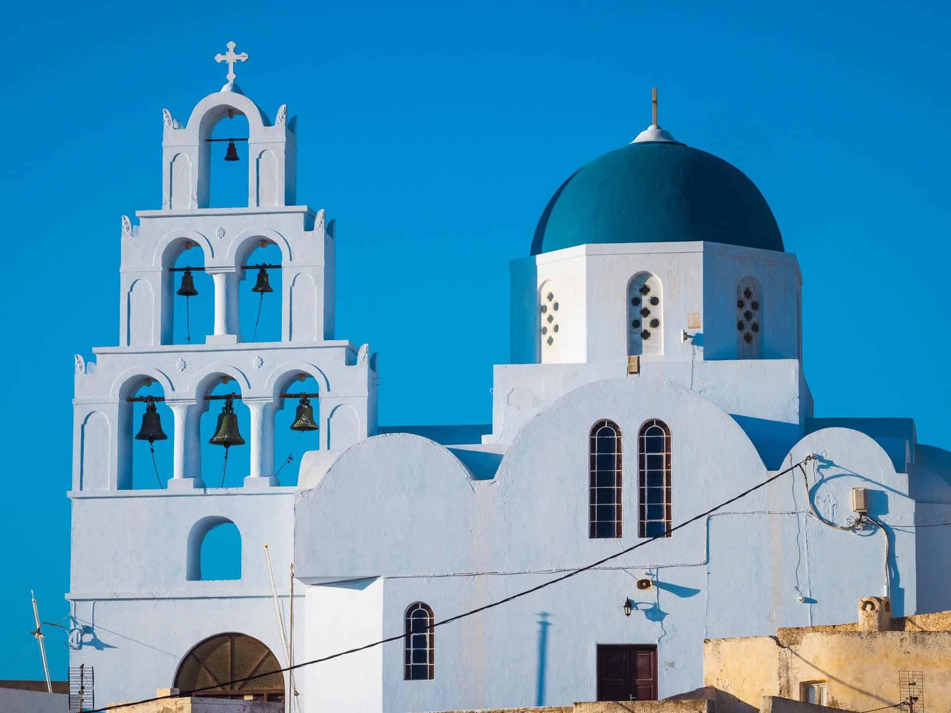 pyrgos santorini blue dome and bells