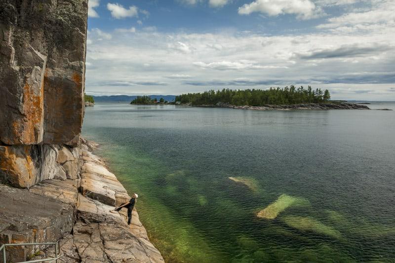 Agawa Pertoglyphs in Ontario on Lake Superior