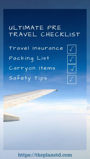 Pre travel checklist Pin