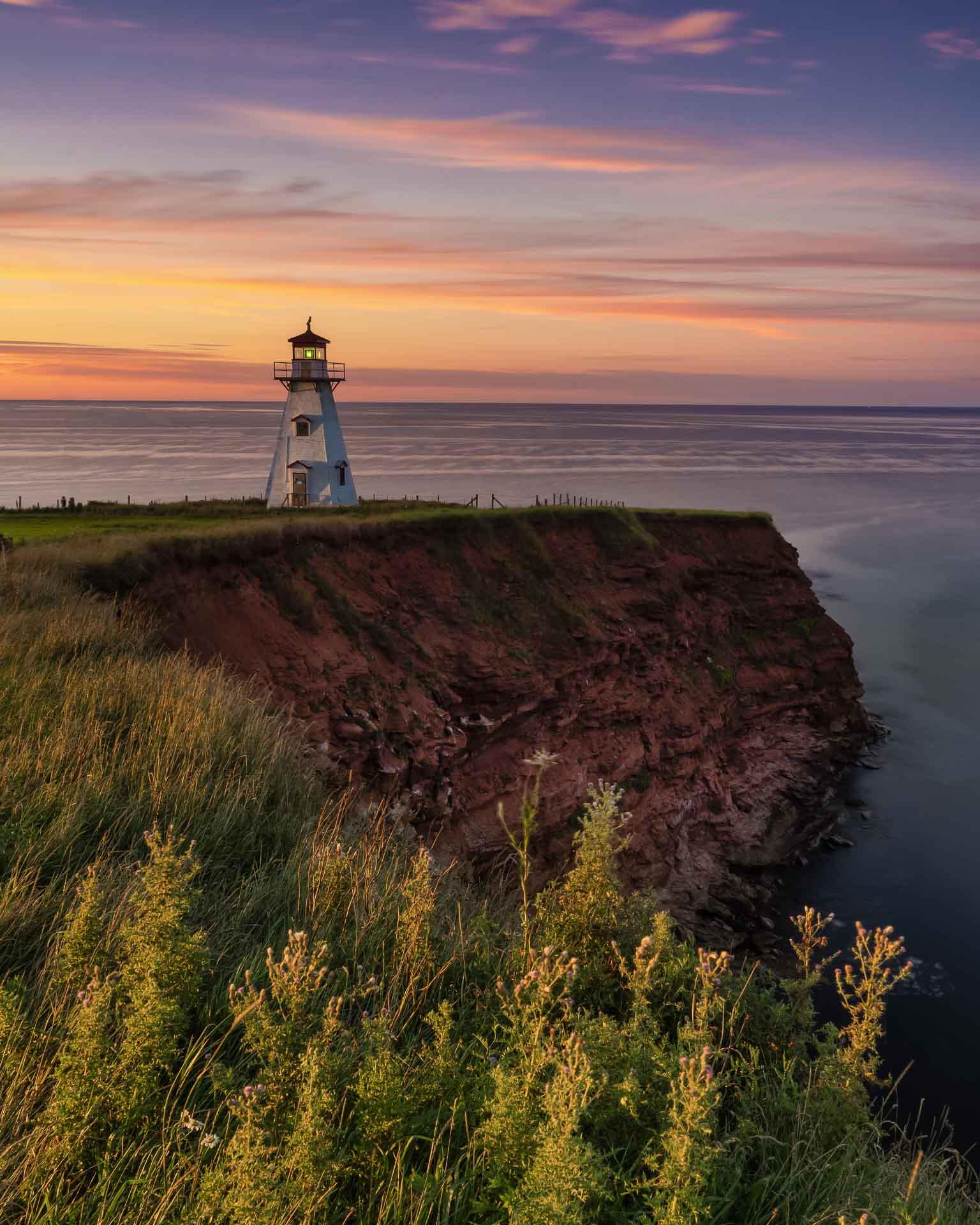 prince edward island lighthouse at sunset