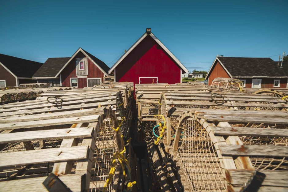 lobster nets and fishing shacks in prince edward island