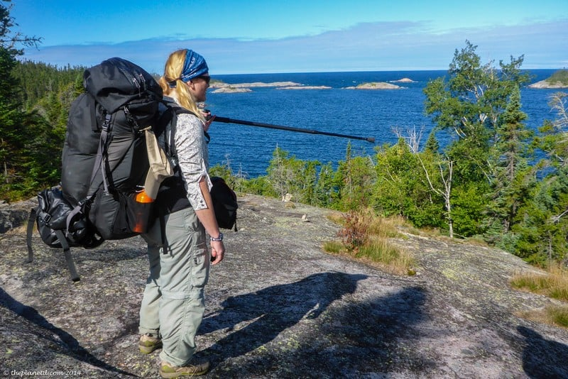 hiking the Pukaskwa Coastal trail with heavy backpacks