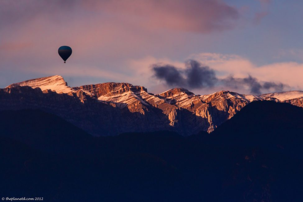 hot air balloon over Pyrenees