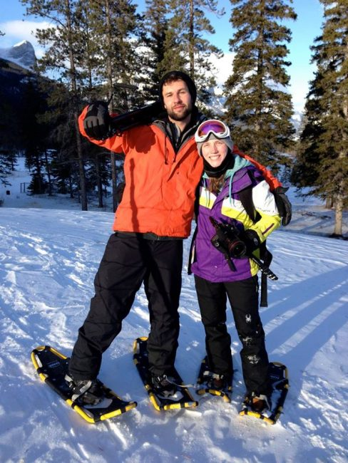 snowboarding in Lake Louise - Riley and Justine, our amazing camera crew