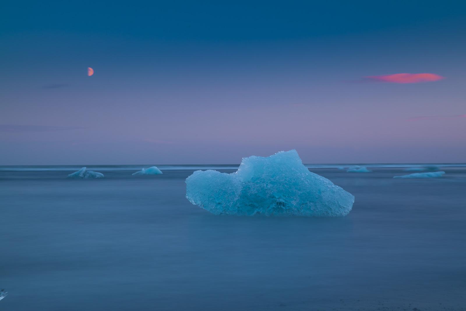 Sunset at Jokulsarlon Glacial Lagoon