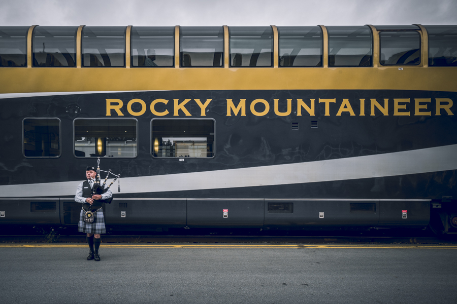A Bagpipe sendoff for the Rocky Mountaineer
