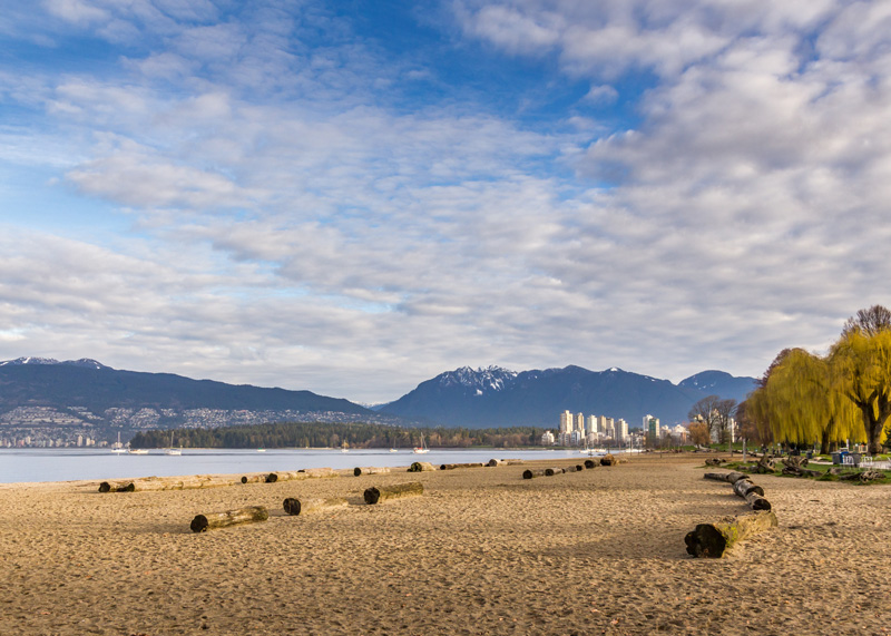 Kitsilano Beach in Vancouver the start of the Sea to Sky Highway