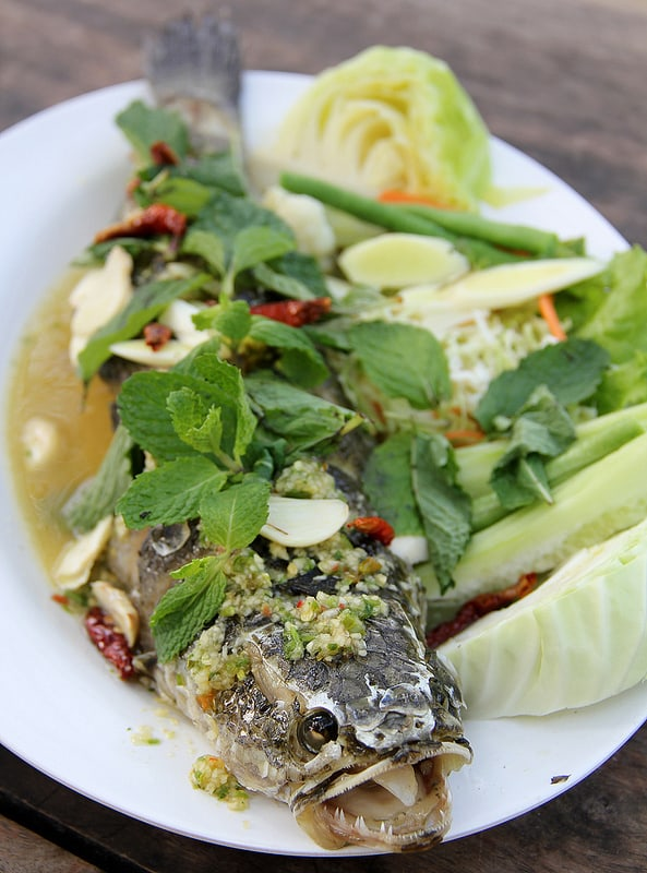 fish dishes to try in Thailand - Pla Chon Lui Suan