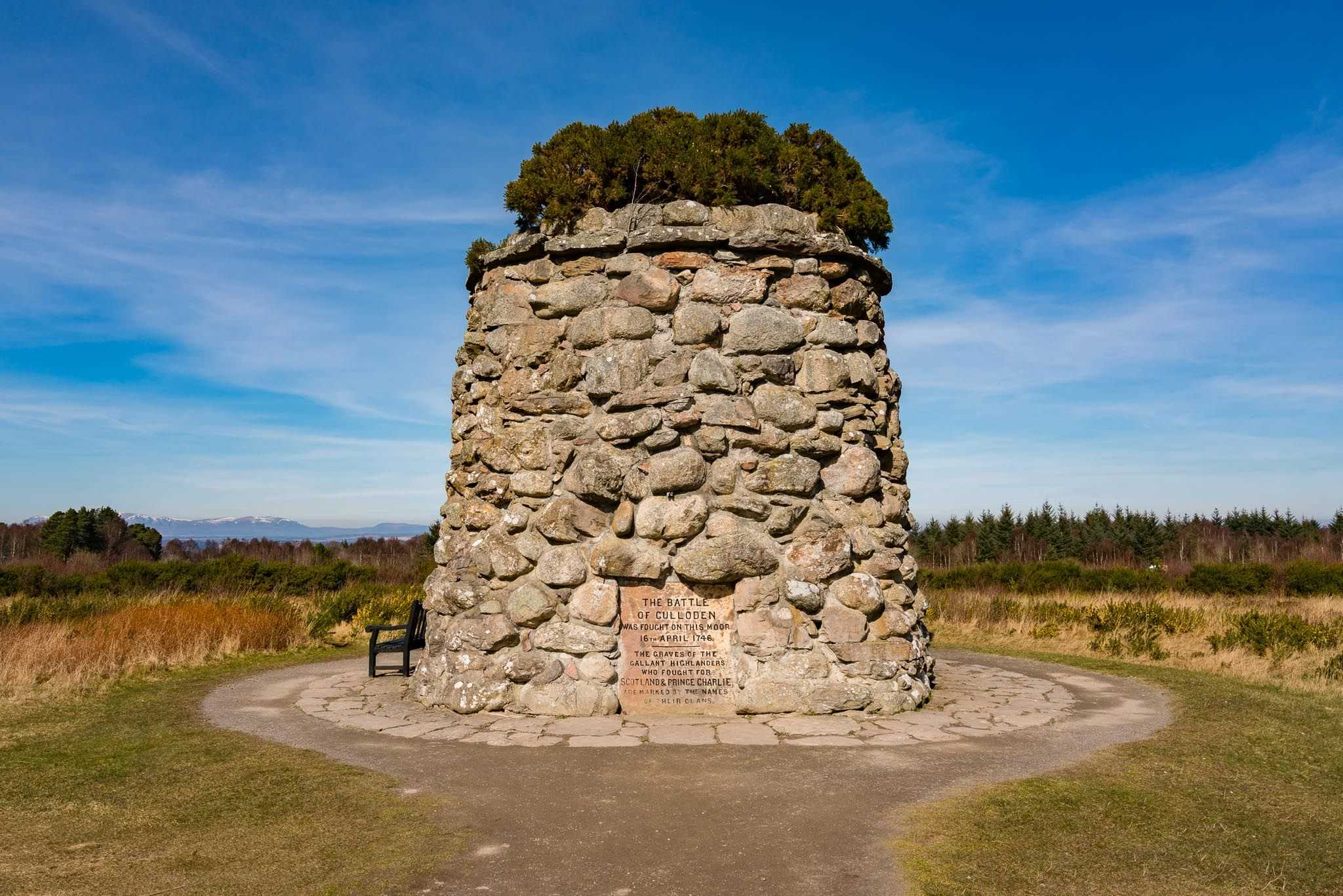 The memorial to the fallen at the Culloden Battlefield