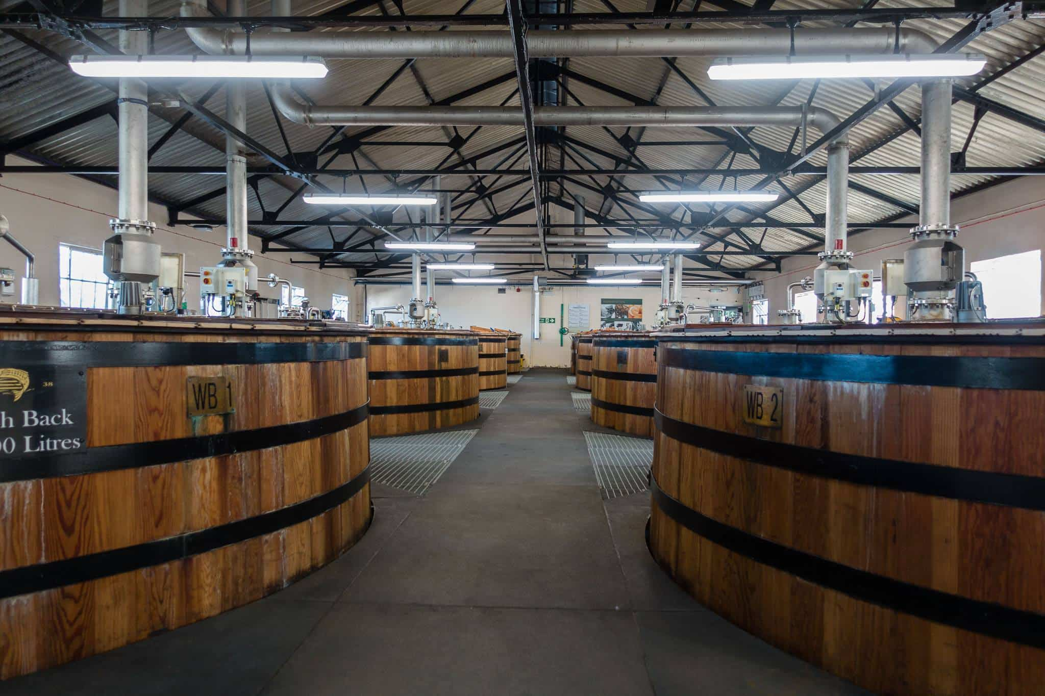 The fermentation process at Glen Ord takes place in wooden barrels.