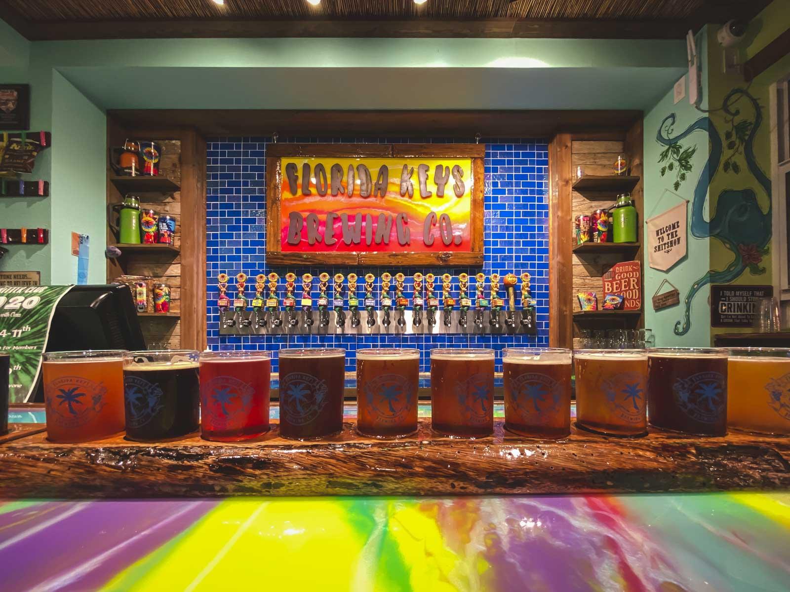 flight of beer at florida keys brewing