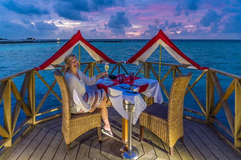 dining on the beach in the maldives