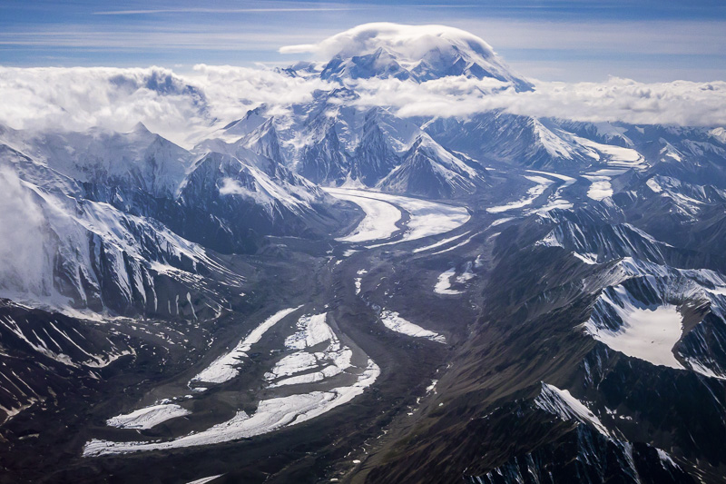 Taking a flight over Denali in Alaska