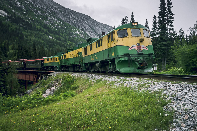 Take the White Pass Railway in alaska