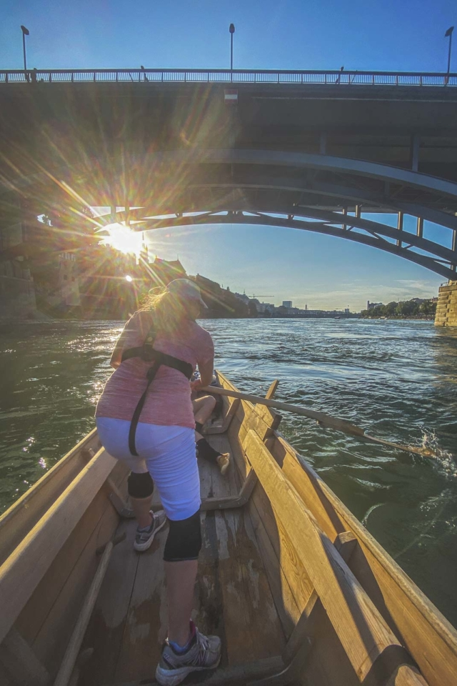 Weidling on the Rhine River in Basel Switzerland