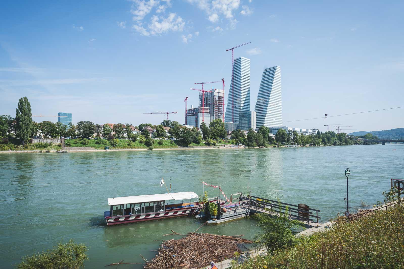 Crossing the Rhine River in Basel