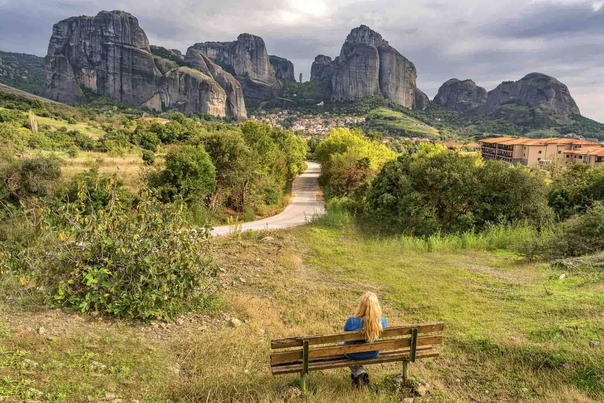 looking at the monasteries of Meteora Greece