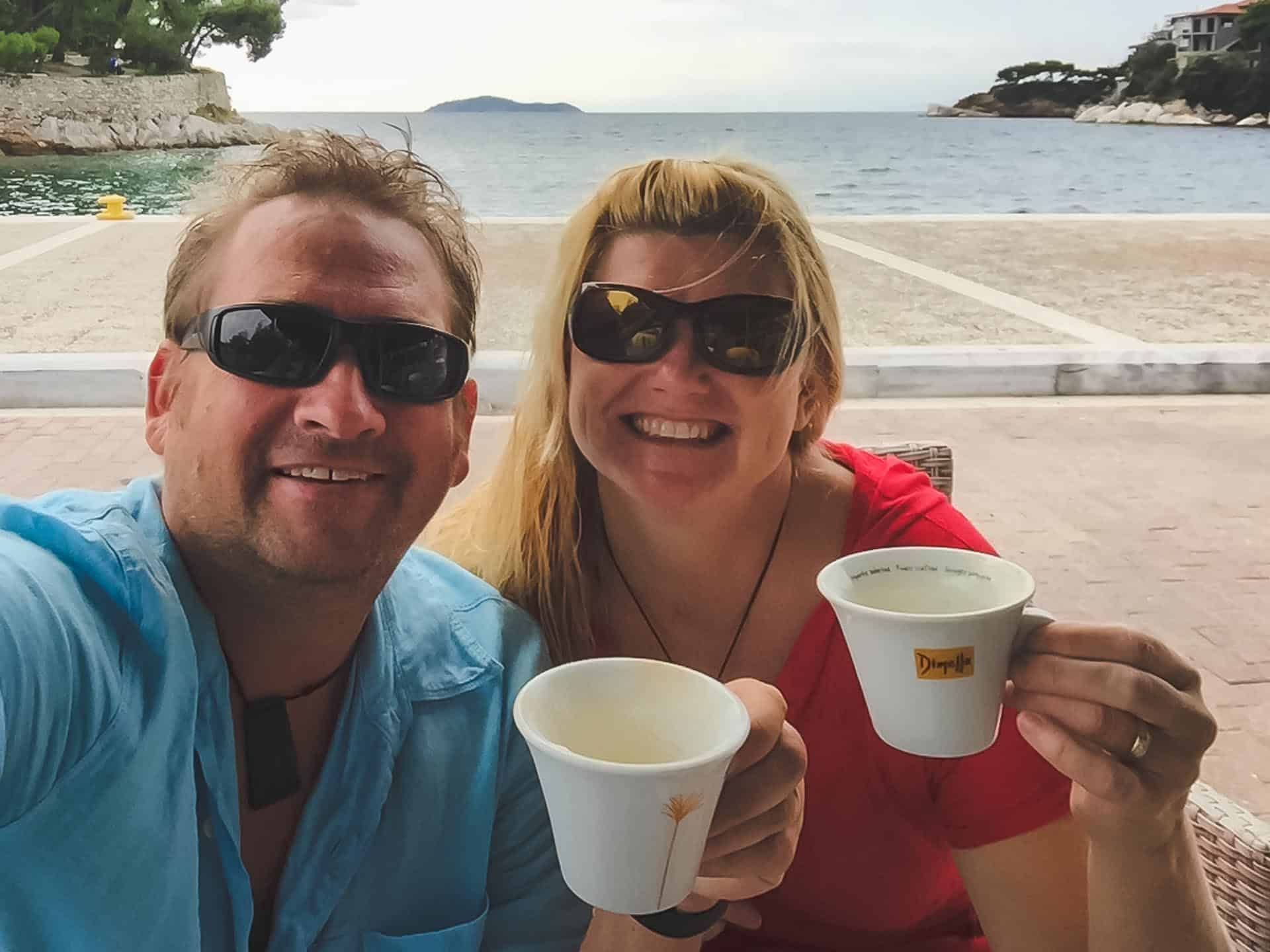 dining on the waterfront of skiathos greece
