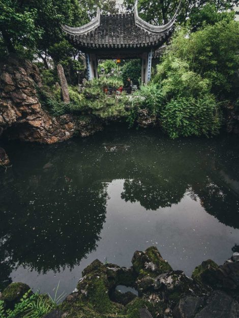 Reflecting pond at lion grove gardens in Suzhou