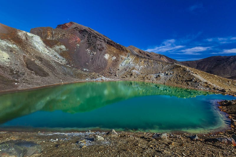 Blue lake on the Tongariro Crossing hike