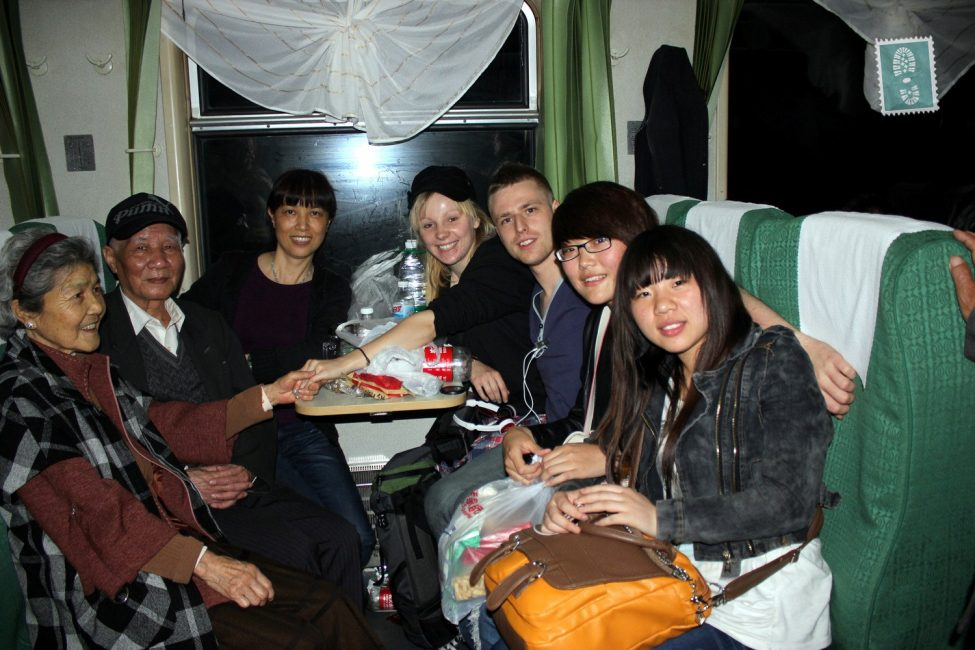 making friends on a train in China