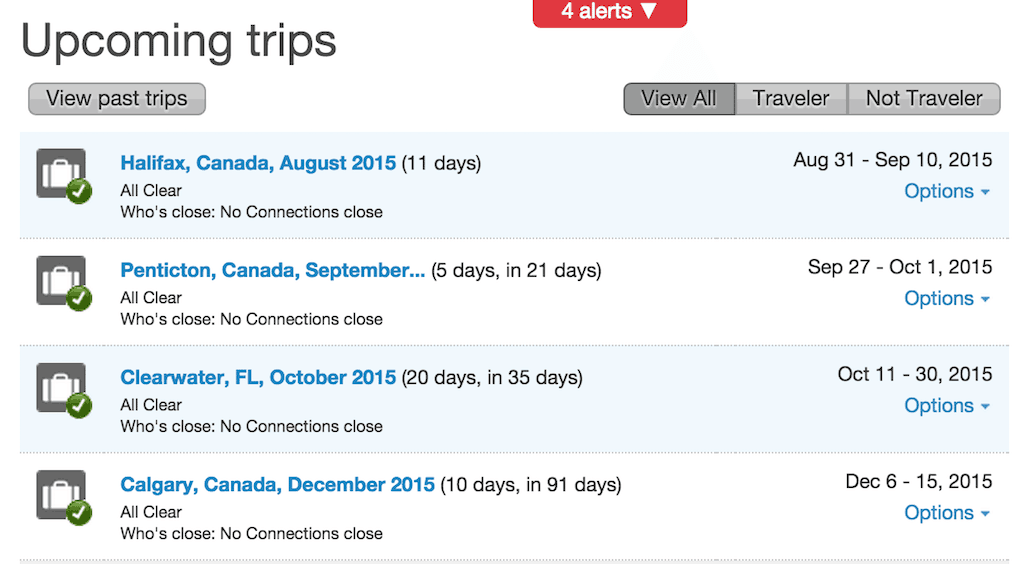 Travel itinerary with tripit