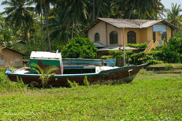 boat inland from tsunami in Sri Lanka