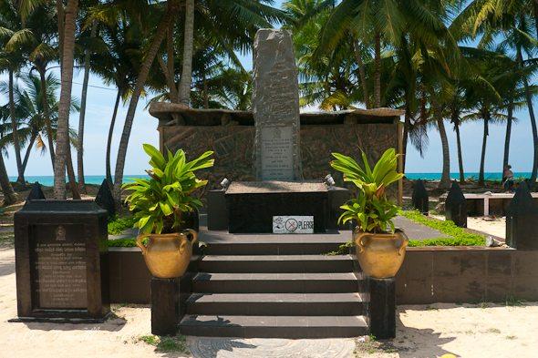 Roadside Tsunami Monument in South Sri Lanka