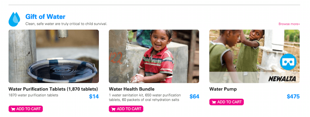 unicef survival gifts content