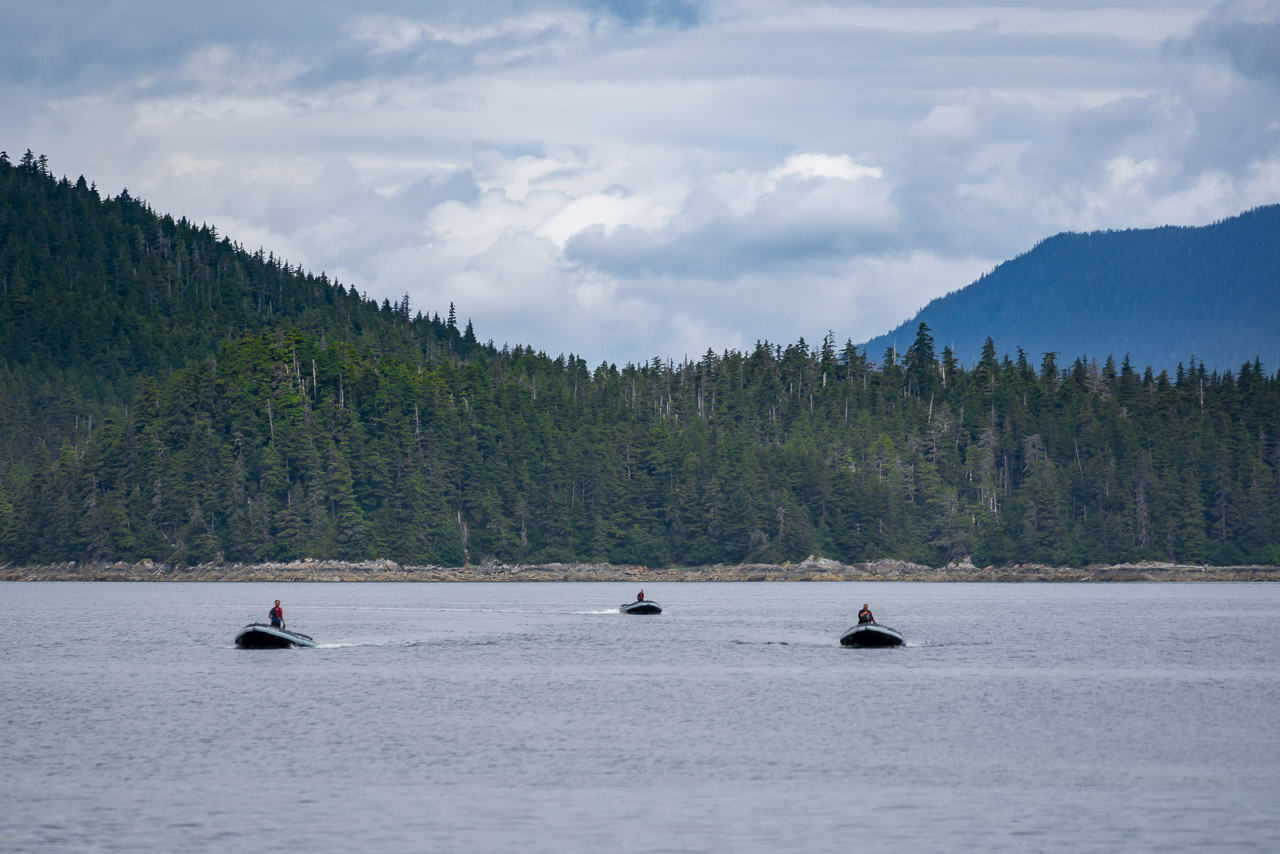 Skiffs on our Uncruise in Alaska