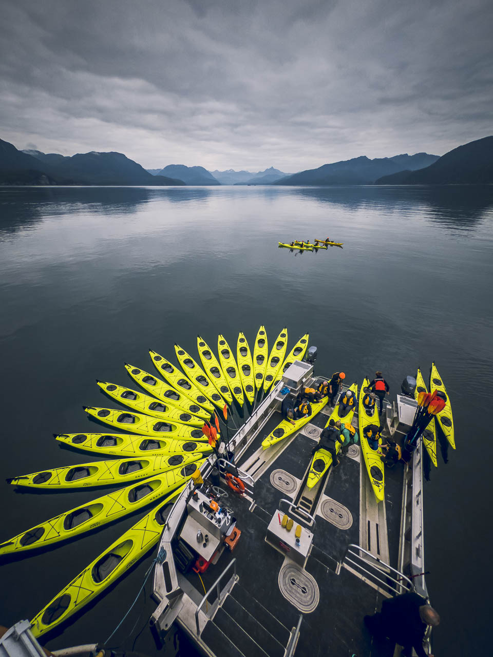 Kayaks on the back of the Sea Legacy in Alaska