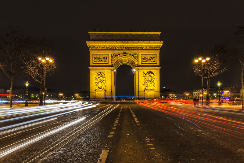 The Arc de Triomphe in the Champs-Elysees neighbourhood of Paris
