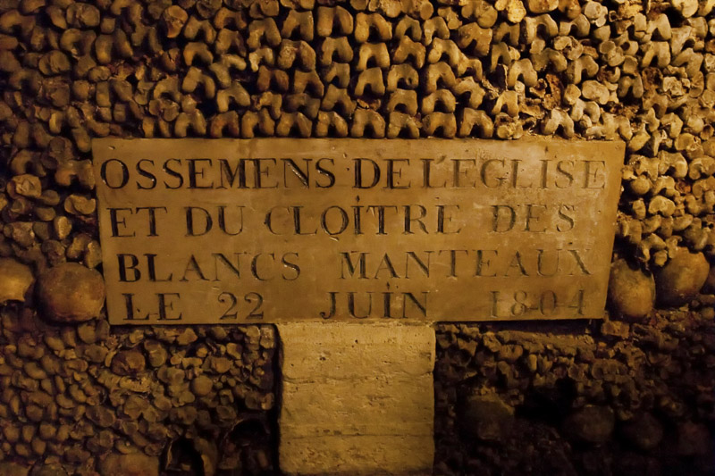 Catacombs of Paris near Montparnasse neighbourhood