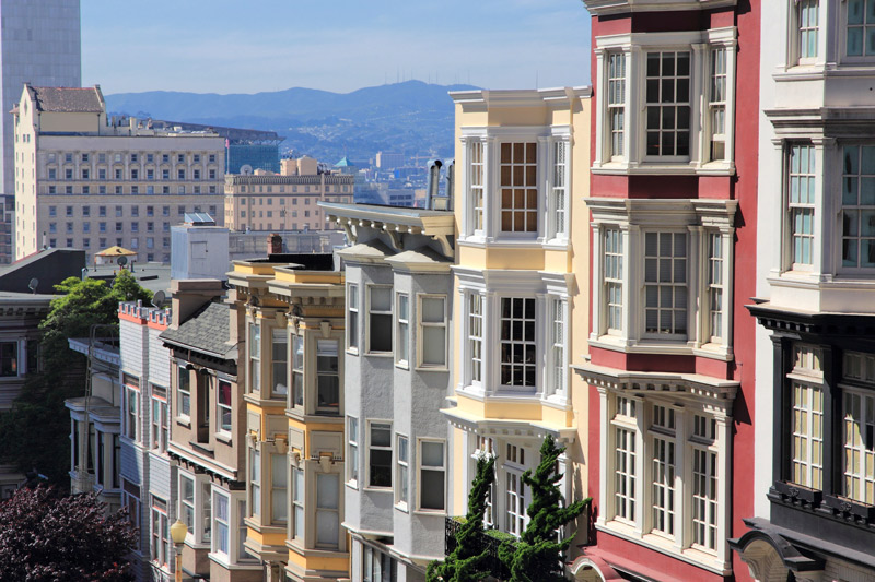The beautiful streets of Nob Hill neighborhood in San Francisco